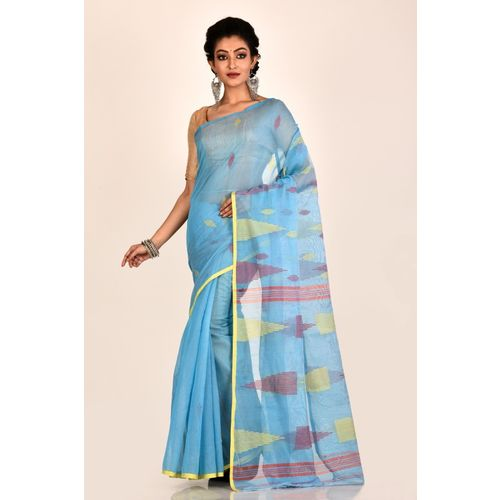 Aahiri Women's Embroidered Jamdani Handloom Cotton Blend Saree Without Blouse Piece (Blue)