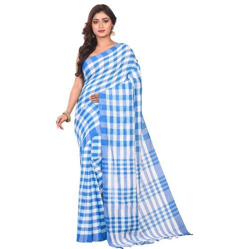 Aahiri Checkered Fashion Cotton Blend Saree(Blue)