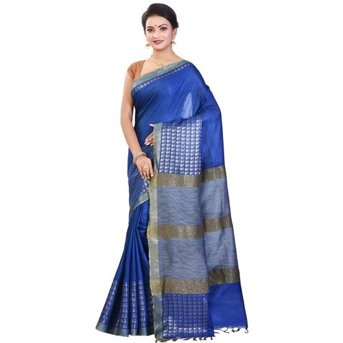 Aahiri Women's Bhagalpuri Silk Saree With Blouse Piece (Blue)