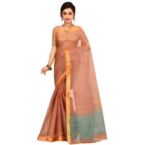 Aahiri Self Design Tant Pure Cotton Saree(Brown)