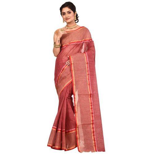Aahiri Striped Tant Pure Cotton Saree(Brown)