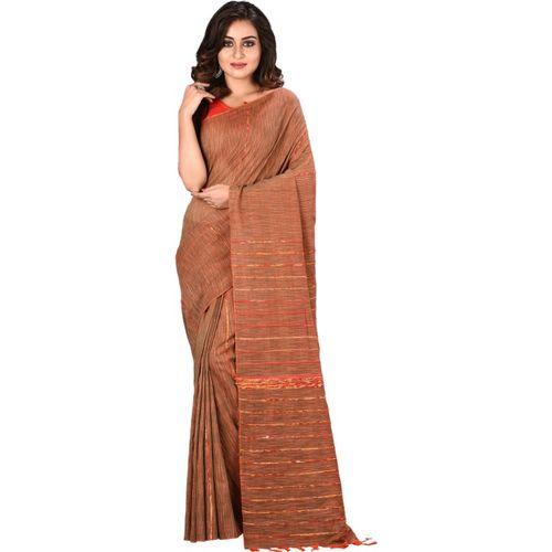 Aahiri Plain Handloom Pure Cotton Saree(Brown)