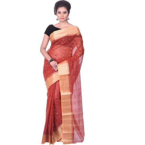 Aahiri Plain Daily Wear Pure Cotton Saree(Brown)