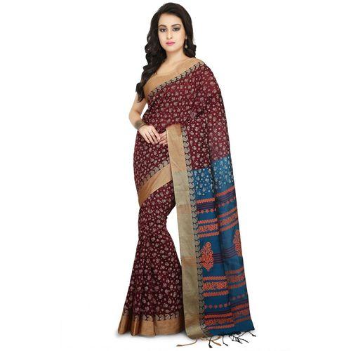 Aahiri Self Design Daily Wear Cotton Silk Saree(Brown)