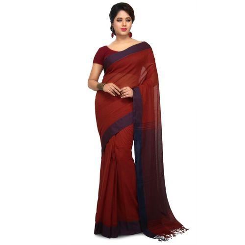Aahiri Plain Daily Wear Cotton Silk Saree(Brown)