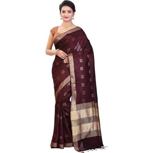 Aahiri Self Design Bollywood Poly Silk Saree(Brown)