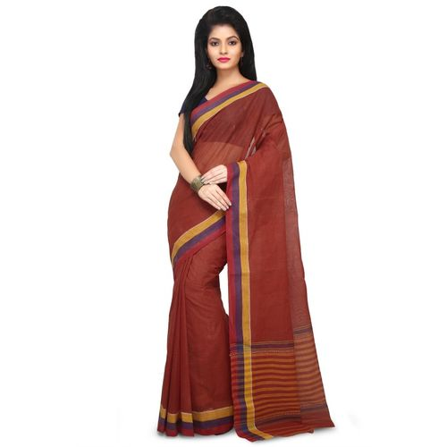 Aahiri Handloom Cotton Tant Saree Without Blouse Piece (Brown)