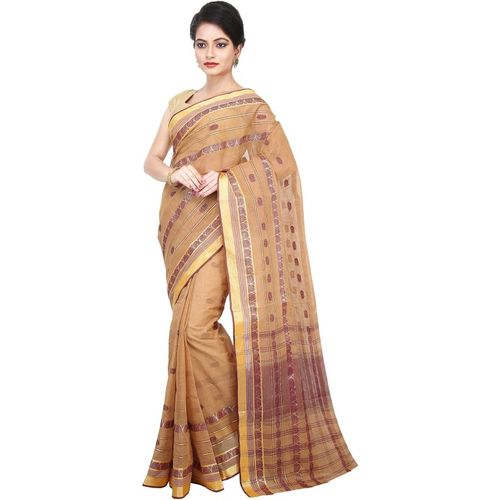 Aahiri Self Design Tant Cotton Blend Saree(Brown)