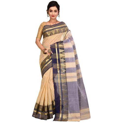 Aahiri Self Design Tant Pure Cotton Saree(White)