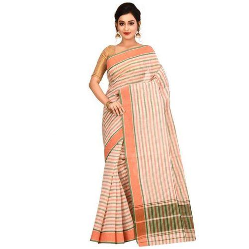 Aahiri Women's Woven Tant Cotton Saree without Blouse Piece (White)