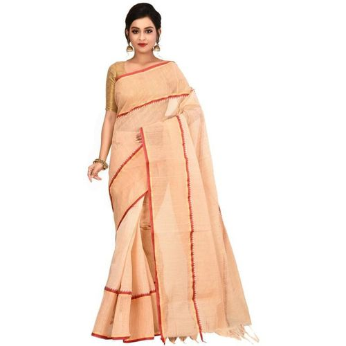 Aahiri Women's Woven Tant Cotton Saree without Blouse Piece (White)