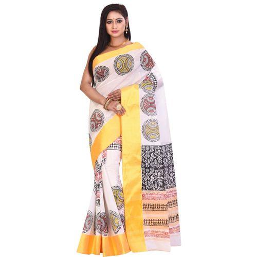 Aahiri Plain Daily Wear Pure Cotton Saree(White)