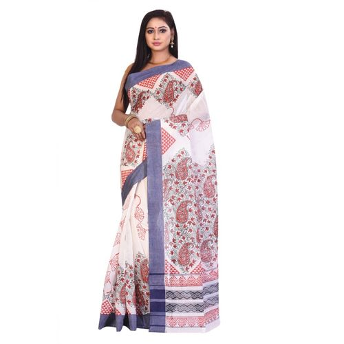 Aahiri Self Design Daily Wear Pure Cotton Saree(White)