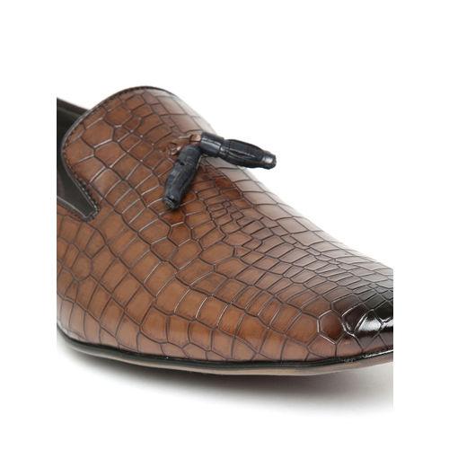 San Frissco Men Brown Croc Texture Semiformal Slip Ons