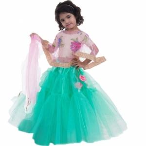 Aglare Green Ethnic Wear Chaniya Choli for Kids
