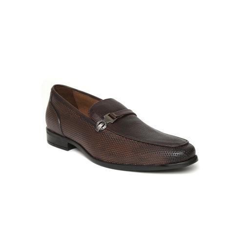 San Frissco Men Brown Textured Semiformal Slip-Ons