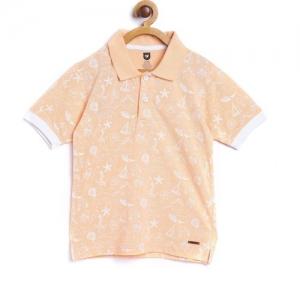 612 League Boys Printed Cotton Blend T Shirt(Orange, Pack of 1)
