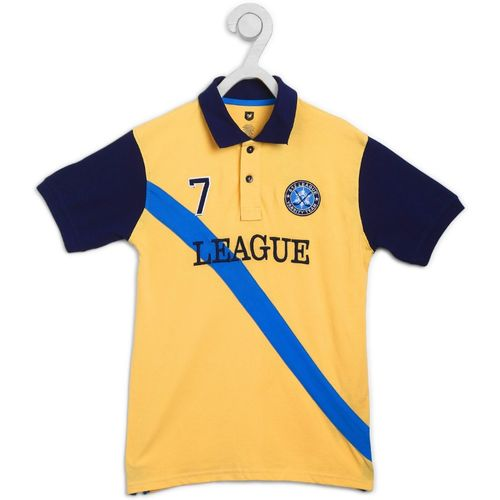 612 League Boys Embroidered Pure Cotton T Shirt(Yellow, Pack of 1)