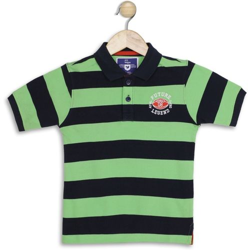 612 League Boys Striped Cotton Blend T Shirt(Green, Pack of 1)