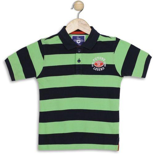 612 League Boys Striped Cotton Blend T Shirt(Green, Pack of 1)