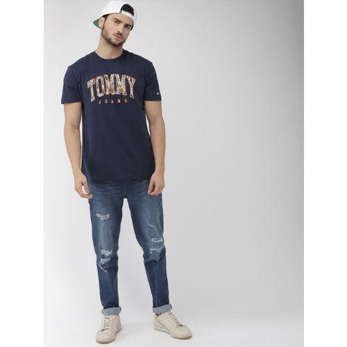 Tommy Hilfiger Men Navy Blue & Orange Printed Round Neck T-shirt