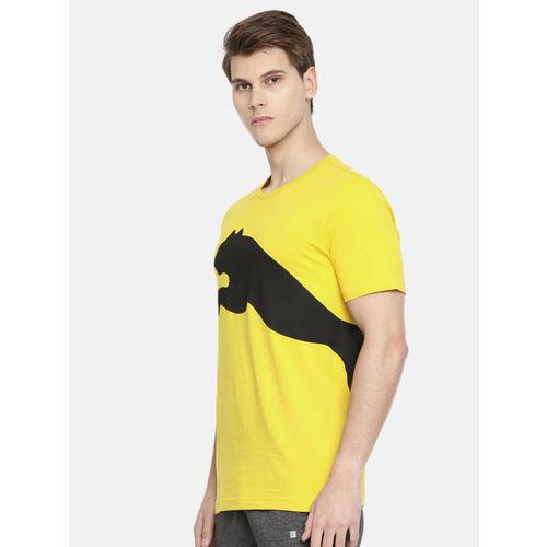 Puma Men Yellow & Black Printed Round Neck Big Logo Sulphur T-shirt