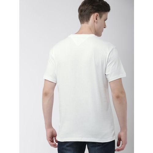 Tommy Hilfiger Men White & Teal Blue Printed Round Neck T-shirt