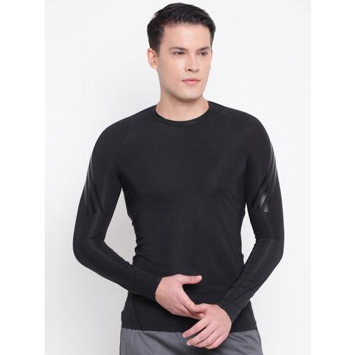 ADIDAS Men Black Solid ALPHASKIN Tech Round Neck T-shirt