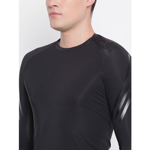 ADIDAS Men Black Solid ALPHASKIN Tech Round Neck T-shirt