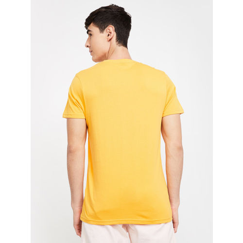 Fame Forever by Lifestyle Men Mustard Yellow Printed Round Neck T-shirt