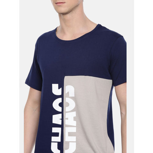 SayItLoud Men Navy Blue and White Printed Round Neck T-shirt
