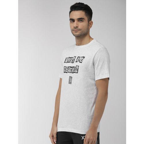 Nike Men White & Grey Printed Standard Fit NKCT TEE SERVE DESTROY T-shirt