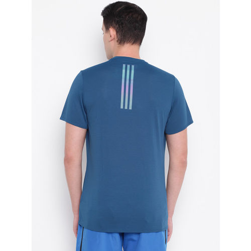 ADIDAS Men Teal Blue Supernova Solid Round Neck Running T-shirt