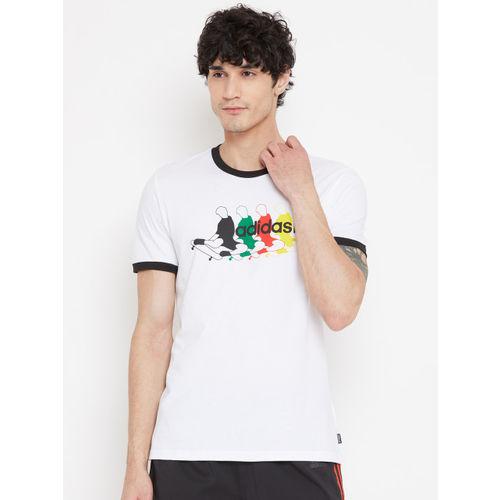 ADIDAS Men White Beakey Printed Detail Skateboarding T-shirt