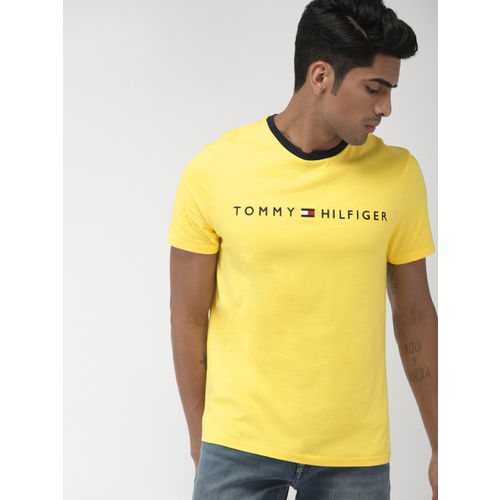 Tommy Hilfiger Men Yellow Solid Round Neck T-shirt