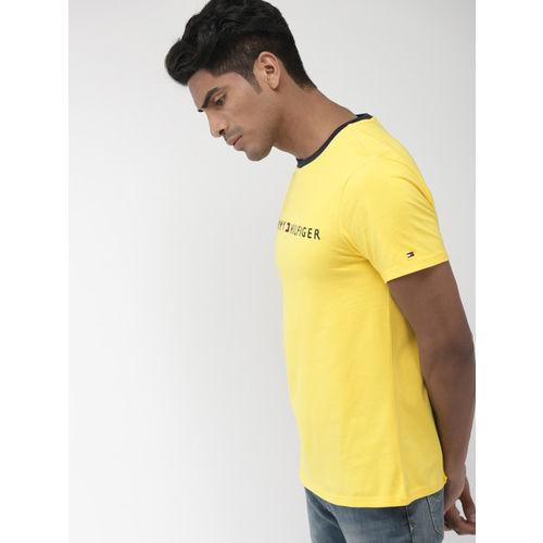 Tommy Hilfiger Men Yellow Solid Round Neck T-shirt