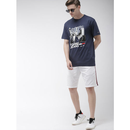 Tommy Hilfiger Men Navy Blue & White Printed Round Neck T-shirt