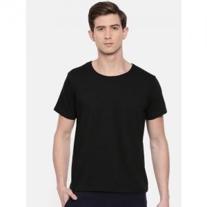 SayItLoud Men Black Solid Round Neck T-shirt