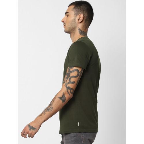 Jack & Jones Men Olive Green & Coral Orange Printed Round Neck T-shirt
