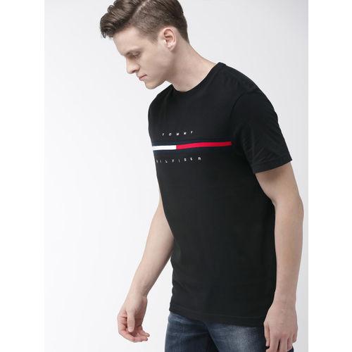 Tommy Hilfiger Men Black Solid Round Neck T-shirt