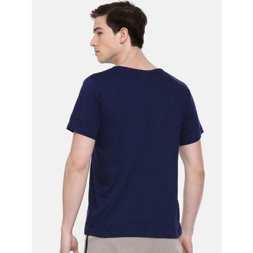 SayItLoud Men Navy Blue & White Printed Round Neck T-shirt