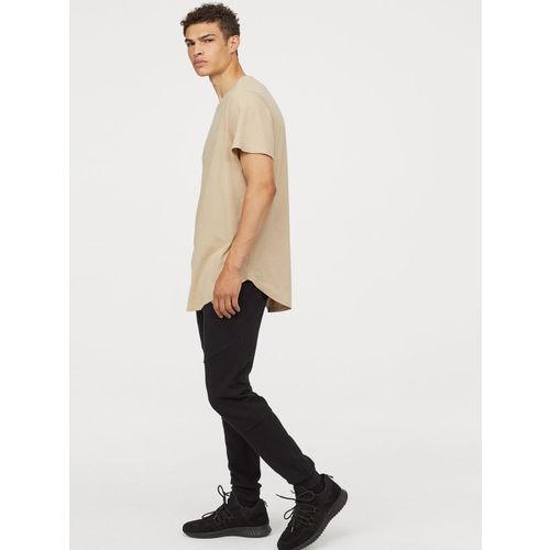 H&M Men Beige Solid Long T-Shirt