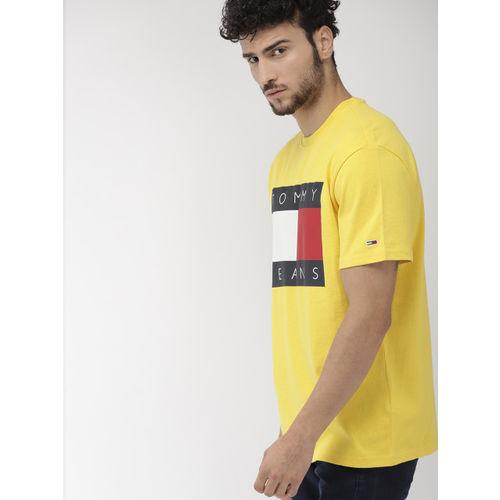 Tommy Hilfiger Men Yellow Printed Round Neck T-shirt