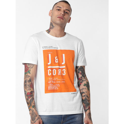 Jack & Jones Men White & Coral Orange Printed Round Neck T-shirt