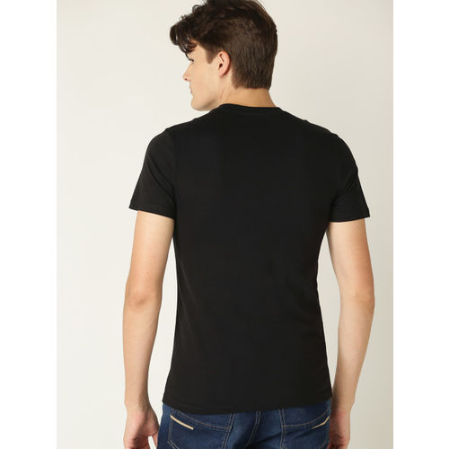 United Colors of Benetton Men Black Printed Detail Round Neck T-shirt