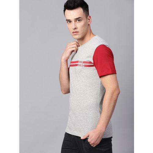 HRX by Hrithik Roshan Men Grey Melange & Red Striped Detail Lifestyle T-shirt
