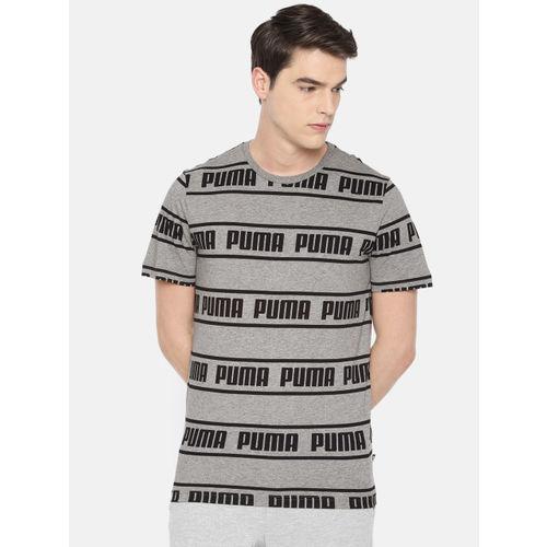 Puma Men Grey & Black Printed Round Neck T-shirt