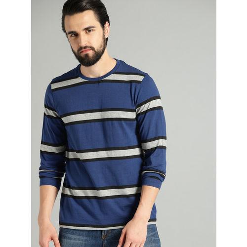 Roadster Men Navy Blue & Grey Striped Round Neck T-shirt