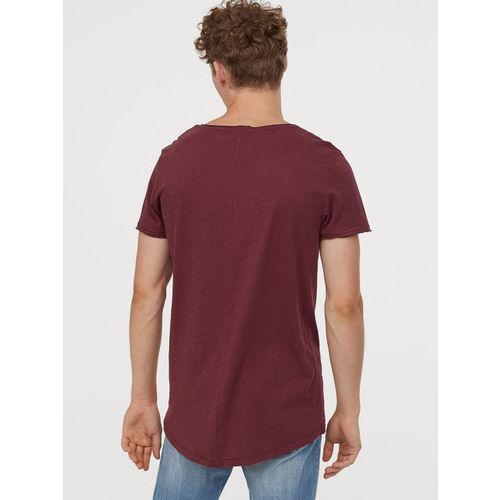 H&M Men Red Raw-Edge T-shirt