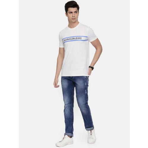 Calvin Klein Jeans Men White Printed Round Neck T-shirt